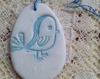 White and blue easter decoration, easter ornament, hanging ornament, blue bird, handmade decoration, home decor, easter gift, clay ornament
