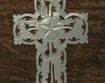 Antique cross in mother of pearl pendant real folk art with the star of Bethlehem