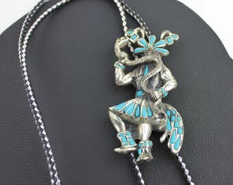 Native American Snake Dance Silver and Turquoise Bolo Tie