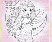 Moonbeam Faery Fae Fairy Moon UNCOLORED Digital Stamp Image Adult Coloring Page jpeg png jpg Craft Cardmaking Papercrafting DIY