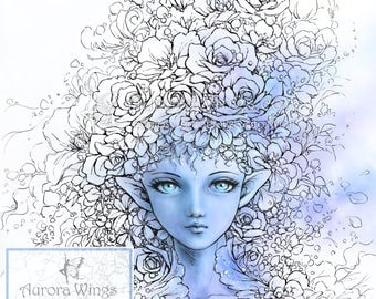 Lady Blossom - Digital Stamp - Beautiful Elf in Flowers - Fantasy Line Art Illustration for Arts and Crafts - Aurora Wings Mitzi Sato-Wiuff