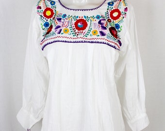 Frida Style Mexican Hand Embroidered Peasant Blouse Long Sleeve- White -Cotton Gauze- BOHO-Hippie-Summer- Traditional- Clothing