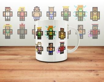 Street Fighter Mug Pixel Art, Computer Game, Fighting Cup, Geek Present, Blanka, Ryu Minecraft Mine Craft