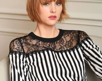 White Cotton Crop Top with Black Stripes.