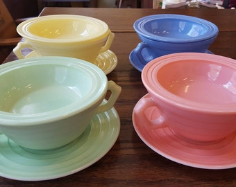 Hazel Atlas Moderntone Platonite Saucer, Cream Soup Bowl, and Small Fruit/Dessert Bowl 1 in each color: Pastel Green, Yellow, Blue and Pink