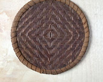 Small Rustic Rattan Farmhouse Hand Woven Winnowing Flat Basket Bohemian Home Wall Decor