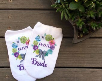 Succulent Floral Theme Bridal Party, Bridesmaid Gifts, Bridal Party, Wedding - Custom Printed Wedding Socks - White Socks Sold By the Pair