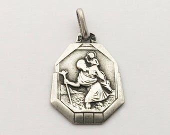 Petite Vintage French St Christopher Medal Religious Lucky Charm Saint Christopher Pendant