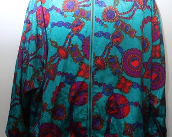 "Rare 80's Vintage ""LADY LAVON"" Women's  Abstract Patterned Multicolor Windbreaker Jacket Sz: 2X"