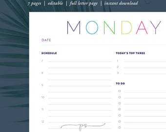 Printable Daily Schedule & To-Do List | DIY daily home organization: Instant Download