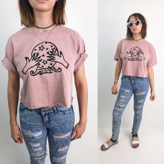 The Cosmic Circle Crystal Ball Logo Crop Top Medium - Dusty Pink Screen Printed Cotton Crop Top - Upcycled Cropped Tee Shirt Witchy Gypsy