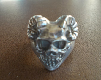 Vintage~ Sterling~Silver~Ram~Skull~Mans~Ring~Detailed~Big~Heavy Biker~RING~Harley Motorcycle Rider~925~size~10 1/2~Ring~Mens Jewelry~21.44gm