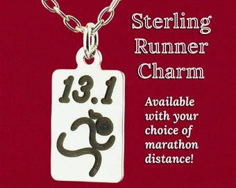 Marathon Runner Ponytail Girl Charm Pendant Necklace Original Design Jewelry 925 Sterling Silver Handmade 13.1, 26.2 Mile, 5K, 10K Race