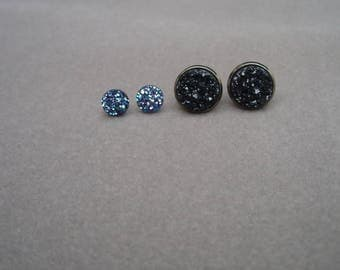Druzy Stud Earring Set, 2 pairs, Blue and Black, Faux Drusy, Earring Gift Set