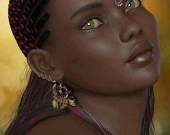 African Women Cross Stitch Pattern-African Art Decor-Printable African Women Pattern-Digital African Print-PDF File