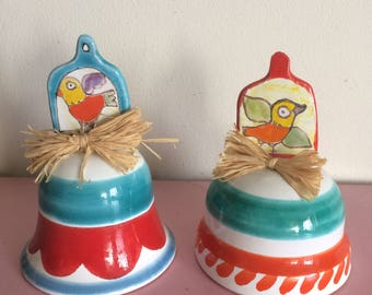 Vintage DeSimone Bird Bell with Raffia