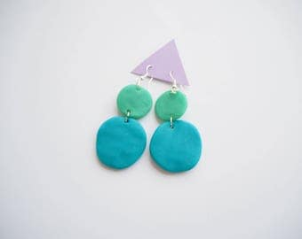 Blue and Green Circle Statment Dangle Earrings