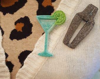 Retro Resin Shaker and Martini Brooches
