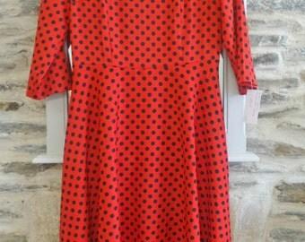50's red polkadot vintage dress rockabilly party full skirt black retro wedding