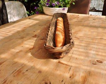 French Baguette Basket, Vintage Long Bread Basket, Rustic French CountryFarmhouse Kitchen, Baguette Pain, Woven Wicker Bread Proving Basket