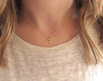 Gold Cross Necklace, Dainty Gold Cross Necklace, Small Gold Cross Necklace, Christian Necklace, Gold Vermeil  - 14K Gold Fill Chain