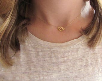 Lotus Flower Necklace, Gold Vermeil, Gold Lotus Necklace, Dainty Flower Necklace, Lotus Pendant, Yoga Necklace - 14K Gold Filled Chain