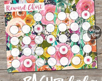 Floral watercolor Reward Chart for kids, printable instant digital download, toddler potty training chart, children sticker behavior, chore