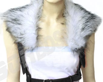 Women Harness w Faux Fur Collar, Heavy Duty genuine leather suspender, Bondage Bodycage Fetish Steampunk, Mature
