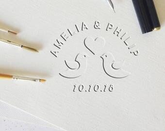 Wedding Embosser, Custom Embossing Stamp, Name Embosser, Custom Seal, Stationery Embosser, Personalized Gift - CE736