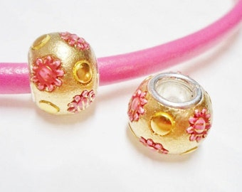 CLEARANCE: 2 Yellow Gold, Red and Pink Resin Flower Rondelles
