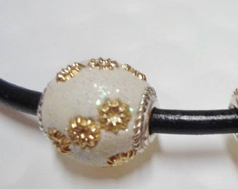 CLEARANCE:  1 White Glitter Resin 13mm Round Bead, 3mm round leather slider