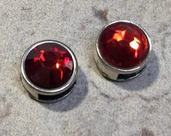 2  5mm Flat Silver Sliders, Red Magma Genuine Swarovski Crystal Sliders for 5mm flat Leather, 6mm flat leather