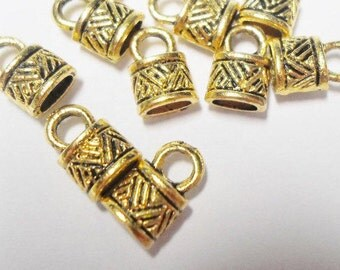 SALE: 2 SETS Cord ends, 2 strands 2mm round, antiqued gold-finished pewter 6x5mm tube with 4.5x2mm hole