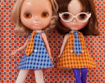 retro kitsch optical printed Blythe doll dress with tie / SPY-BABY