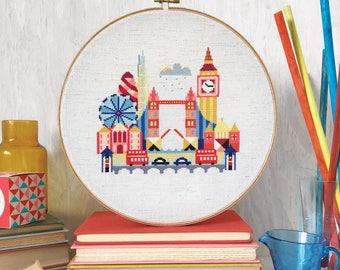 Pretty Little London - printed version - Satsuma Street Modern Cross stitch pattern
