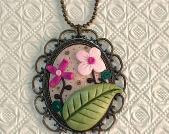 Pendant, Necklace, Floral cameo in pink, handmade with polymer clay, flowers, short or long chain
