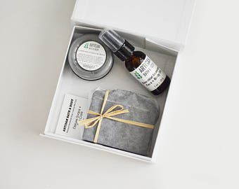 Clarifying Skin Care Trio | Valentine's Day Spa Gift Set, Organic Skincare Pack, Handmade Soap, Face + Body Oil, Charcoal Mask, Organic Gift