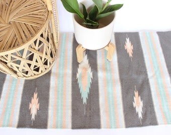 Vintage Wool Rug Tapestry Mexican Serape Pastel Rug Fringe Tribal Aztec