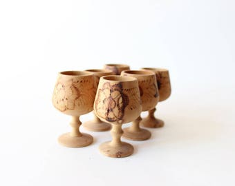Shot Glasses Set 6 Wood Shot Glasses Boho Bar Handmade Floral Whiskey Glasses Boho Home Decor
