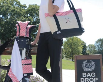 """Golf Lovers Tote Embroidered with """"Crossed Golf Clubs"""" by Ame & Lulu"""