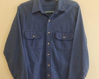 80s Woolrich Blue Button Up Longsleeve Shirt