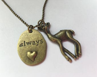 After all this time? Always. Snape Quote Jewelry - Harry Potter - Lily - Doe Patronus Antique Brass Charm Necklace