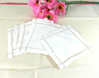 5 linen coasters, square doilies, table settings, place mats, 5 piece, French vintage doily lot, French country decor, French linens.
