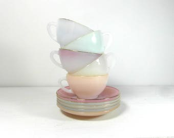 Arcopal harlequin, set of 5 demitasse cups and saucers, pastel milk glass lusterware, French vintage cups, mid century Arcopal, French chic.