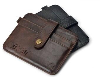 personalized card holder, engraved leather card case, minimalist wallet, pocket wallet, mens card holder, card holder wallet