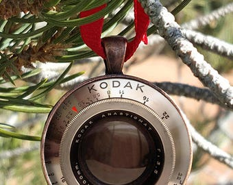 """Vintage Camera Lens """"Not an Actual Lens"""" Ornament Art Print of a Lens Two Dimensional Image in a 30mm Copper Finish Pendant Tray"""