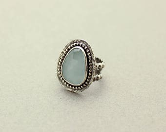 Aqua Chalcedony Gemstone Ring Sterling Silver JMK Statement Ring size 6.5
