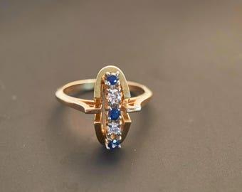 14K Yellow Gold Diamond Deep Blue Sapphire Stone Cluster Ring - 0.1 Carat