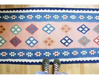 Vintage Rug // 213x82 cm Kilim Runner Floor Rug // Colorful Geometrical Pattern Rug