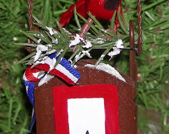 Blue Star Mothers Ornament with Cardinal and sled - Free Shipping